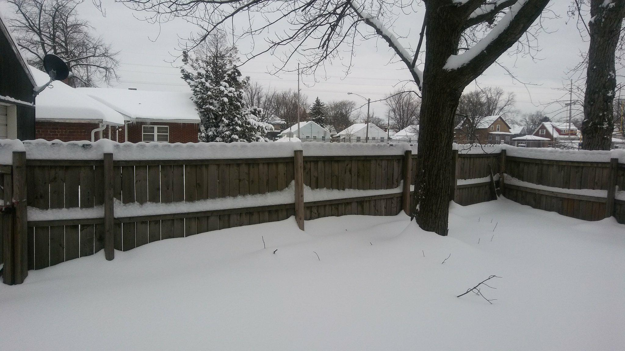 A Michigan City back yard is covered in snow reaching the middle of their fence throughout the yard.